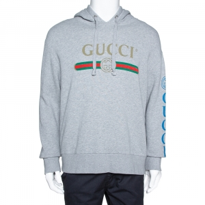 Gucci Grey Cotton Jersey Dragon Embroidered Logo Sweatshirt M