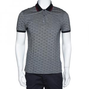 Gucci Grey Cotton Guccissima Print Polo T-shirt M