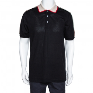 Gucci Black Logo Striped Stretch Cotton Polo T-Shirt XXL
