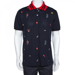 Gucci Navy Blue Multi Symbol Embroidered Cotton Polo T-Shirt XXL