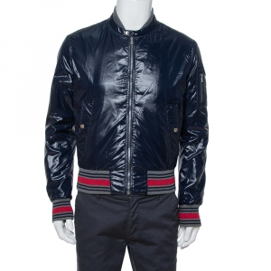 Gucci Navy Blue Zip Front Bomber Jacket S