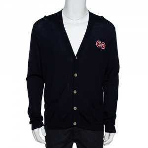 Gucci Navy Blue Wool GG Detail Button Front Cardigan XL