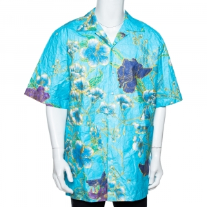 Gucci Blue Floral Print Paper Effect Oversized Bowling Shirt XS