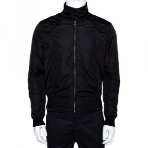 Gucci Black Rib Trim Zip Up Bomber Jacket S