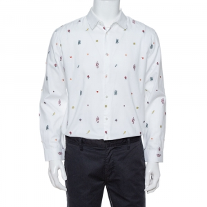 Gucci White Cotton Oxford Symbols Fil Coupé Slim Fit Shirt XL