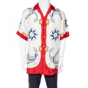 Gucci Cream Nautical Print Silk Oversized Bowling Shirt M