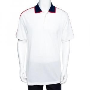 Gucci White Cotton Pique Logo Band Trim Polo T-Shirt XXXL