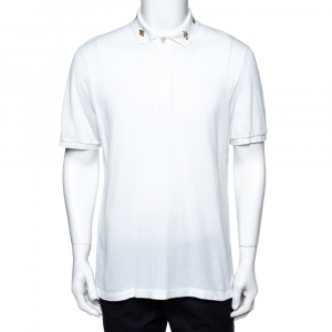 Gucci White Cotton Honeycomb Knit Embroidered Collar Polo T-Shirt XXXL