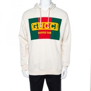 Gucci Cream Dapper Dan Logo Print Cotton Hoodie M