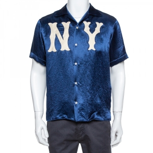 Gucci Navy Blue Satin New York Yankees Patch Bowling Shirt S