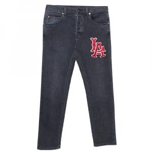 Gucci Black Denim LA Angels Patch Detail Faded Tapered Jeans M