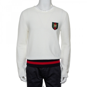 Gucci White Cotton Knit Tiger Crest Applique Jumper L