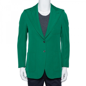 Gucci Green Wool Button Front Blazer XS