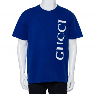 Gucci Blue Cotton Logo Printed Oversized Crewneck T-Shirt M