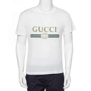 Gucci White Logo Printed Cotton Oversized Washed Crewneck T-Shirt XS
