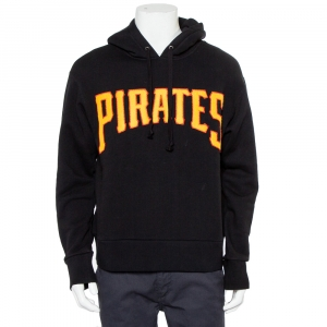 Gucci Black Cotton Logo Pirates Patch Oversized Hoodie S