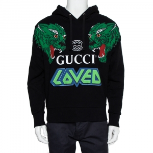 Gucci Black Logo Loved Printed Cotton Hoodie XS