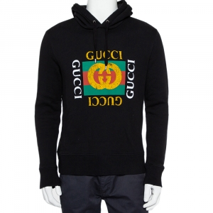 Gucci Black Vintage Logo Print Cotton Hooded Sweatshirt S