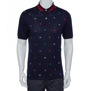Gucci Navy Blue Honeycomb Knit Contrast Trim Detail Embroidered Polo T-Shirt L
