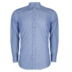 Gucci Blue Striped Long Sleeve Buttondown Cotton Shirt M