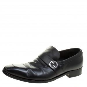 Gucci Black Leather GG Oxfords Size 43.5