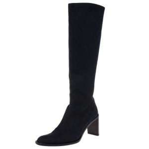 Gucci Black Guccissima Canvas Knee Boots Size 40
