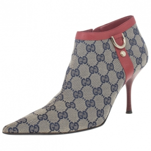 Gucci Guccissima Canvas D Ring Ankle Booties Size 39.5