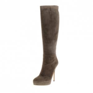 Gucci Grey Suede Platform Knee Boots Size 38.5
