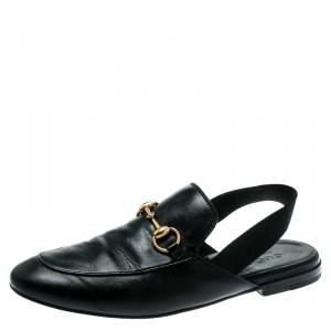 Gucci Black Leather Princetown Horsebit Detail Slide Loafers Size 40
