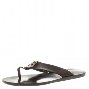 Gucci Brown Leather GG Thong Slipper Sandals Size 40