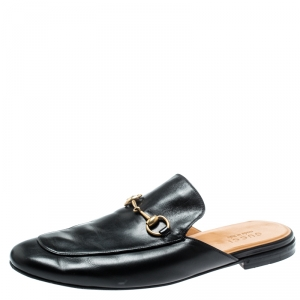 Gucci Black Leather Princetown Mules Loafers Size 44
