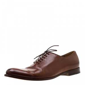 Gucci Brown Leather Lace Up Oxford Size 44.5