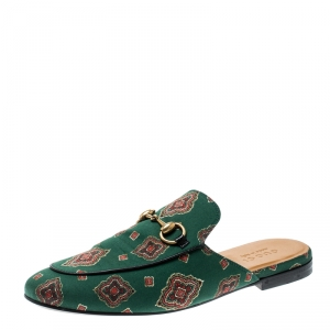 Gucci Green Printed Fabric Princetown Horsebit Mules Loafers Size 41