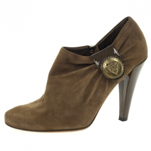 Gucci Brown Suede Hysteria Ankle Booties Size 38.5