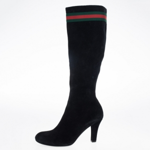 Gucci Black Suede Web Detail Knee Length Boots Size 39.5