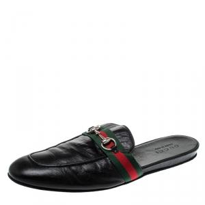 Gucci Black Leather Web Horsebit Slip On Slippers Size 43
