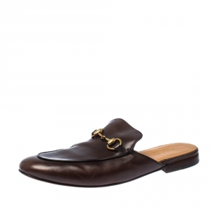 Gucci Brown Leather Horsebit Slip On Slippers Size 42