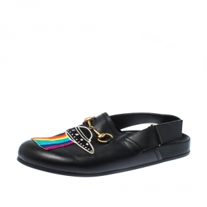 Gucci Black Appliques Leather Horsebit River Slingback Slippers Size 42