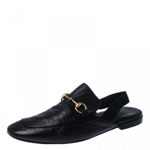 Gucci Black Horsebit Leather Princetown Slingback Mules Size 45