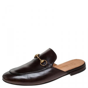 Gucci Brown Leather Horsebit Mules Size 44