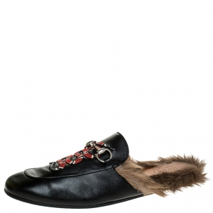 Gucci Black Snake Embroidered Leather and Fur Lined Princetown Mules Size 44