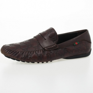 Gucci Dark Brown Guccissima Leather Penny Loafer Drivers With Interlocking G Size 43.5