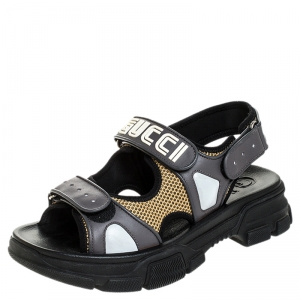 Gucci Grey Leather And Beige Mesh Logo Applique Double Strap Sandals Size 41