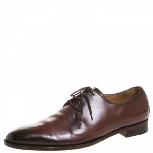 Gucci Brown Leather Lace Up Derby Size 42.5