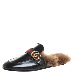 Gucci Black Leather And Fur Princetown Web GG Marmont Loafer Slides Size 41