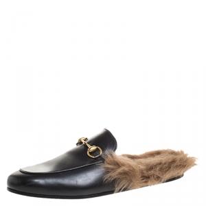 Gucci Black Leather And Fur Princetown Horsebit Loafer Slides Size 42