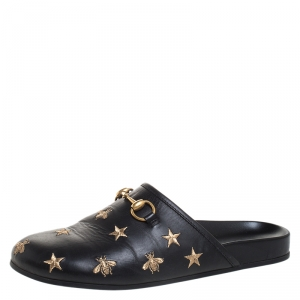 Gucci Black Star And Bee Embroidered Leather River Princetown Slippers Size 41.5
