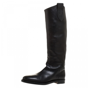 Gucci Black Leather Equestrian Knee High Length Boots Size 42