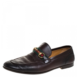 Gucci Brown Leather Horsebit Slip On Loafers Size 43.5