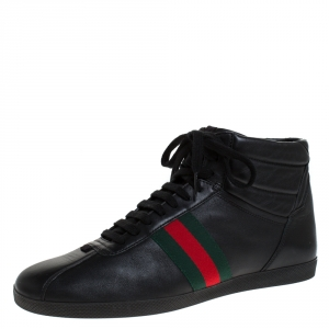Gucci Black Leather Web Detail High Top Lace Up Sneakers Size 41